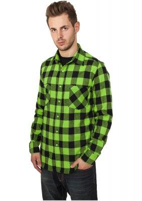 Flanellskjorta Rutig Svart/Limegrön (S)