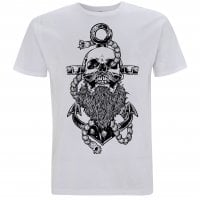 Beard and anchor vit T-shirt