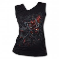 Burnt Rose Gathered Shoulder Slant Vest 1