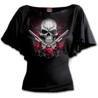Death gun boat neck top