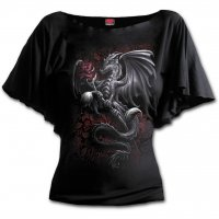 Dragon Rose boat neck top