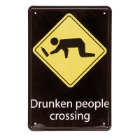 Drunken people crossing metalltavla