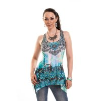 Heart celtic lace panel vest blue fram