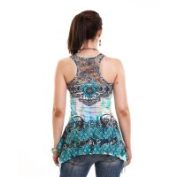 Heart celtic lace panel vest blu bak