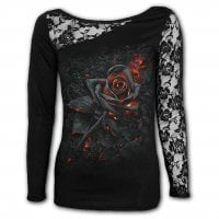 Burnt Rose Lace One Shoulder Top 1