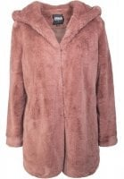 Ladies Hooded Teddy Coat rosa
