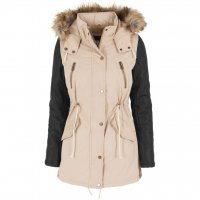 Ladies Leather Imitation Sleeve Parka Jacka Sand 3