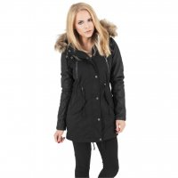 Ladies Leather Imitation Sleeve Parka Jacka Svart