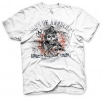 Sons Of Anarchy Sliten Flagga vit t-shirt