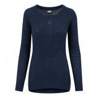 Wideneck sweater lång modell navy