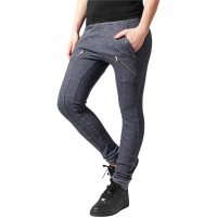 Zipped melange sweatpants navy