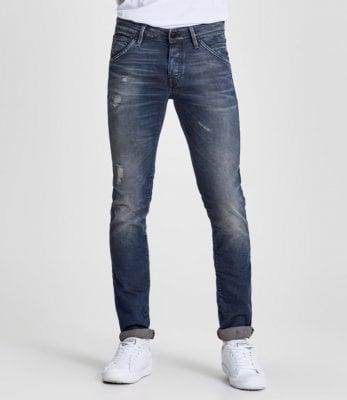 Blå jeans med slitningar slim fit herr