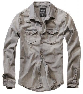 Grå sliten jeansskjorta (S)