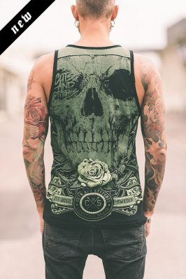 Green skull linne - Cuts and stitches