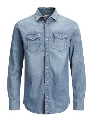 Jeansskjorta slimfit (Medium blue,XS)