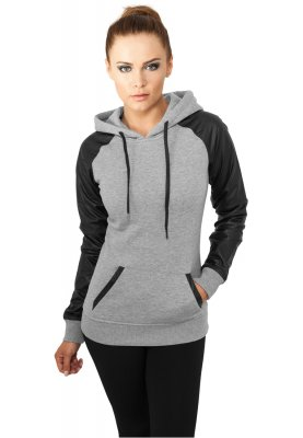 Ladies Raglan Leather Imitation Hoodie
