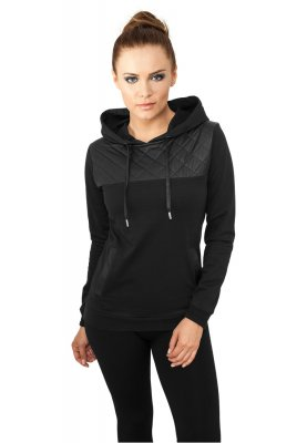 Ladies Leather Imitation Shoulder Hoodie Svart