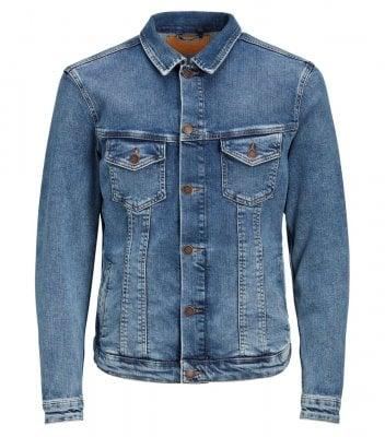 Ljusblå jeansjacka regular fit herr