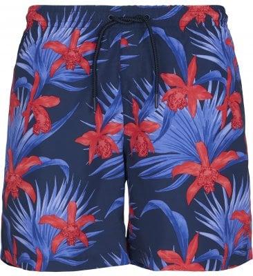 Badshorts blå/röda blommor