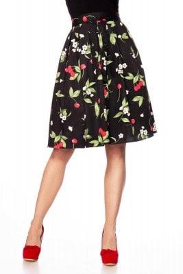Retro kjol med svarta blommor Kjolar Damkläder Dunken.se
