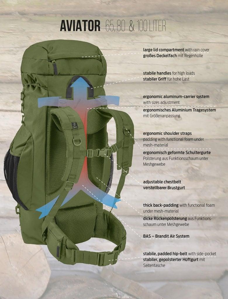 Köp Brandit Aviator Ryggsäck 65 Liter   Enkel Retur   ARMY
