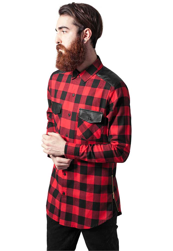 Flanellskjorta herr med läderdetaljer - Dunken.se 1a9bd328b4313
