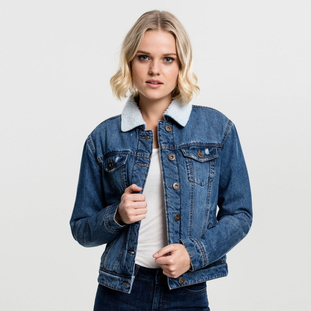 Fodrad jeans jacka dam