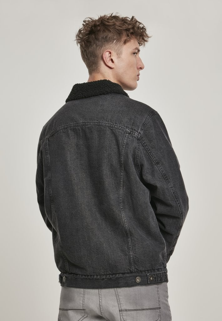 Fodrad jeansjacka herr svart Jackor Herrkläder Dunken.se
