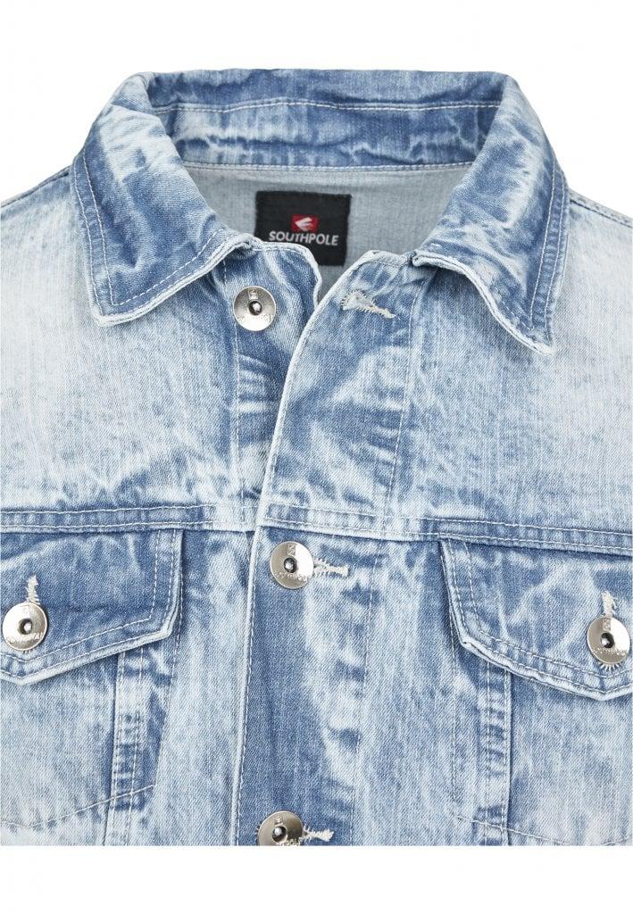 Ljusblå jeansjacka med slitningar herr Jackor Herrkläder