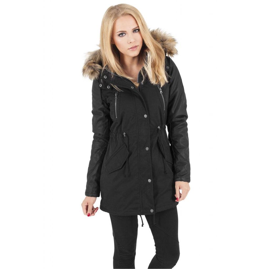 Ladies Leather Imitation Sleeve Parka Jacka Svart Dunken.se