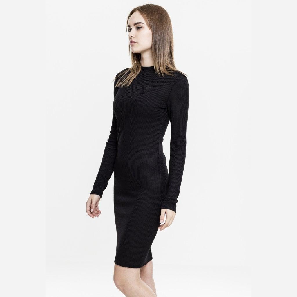 Ribbad klänning med hög hals Klänningar Damkläder